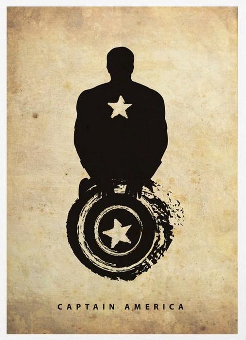 Капитан Америка, минималистичный постер от Маркуса (Marcus)