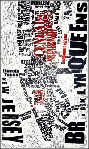 Текстовая карта-гравюра Нью-Йорка