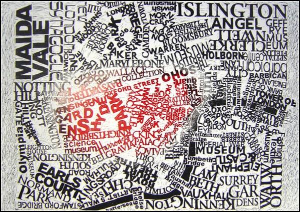 Лондон. Текстовая карта-гравюра от Марка Эндрю Уэббера