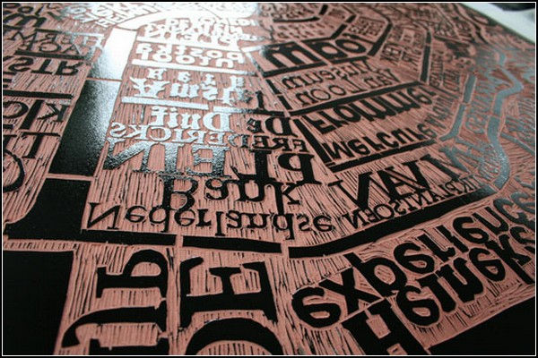 Амстердам из серии текстовых карт-гравюр