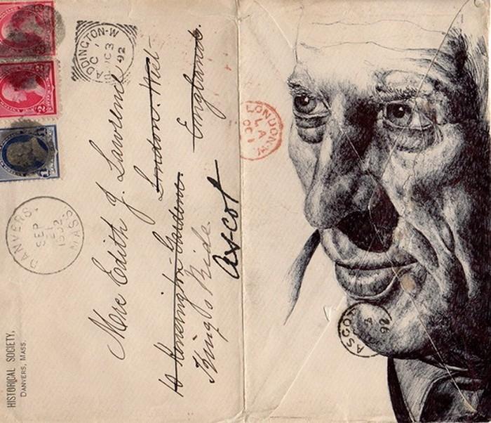 Эмоциональные портреты на старых конвертах