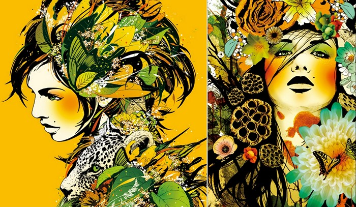 Цветочные портреты от Marumiyan в технике mixed media