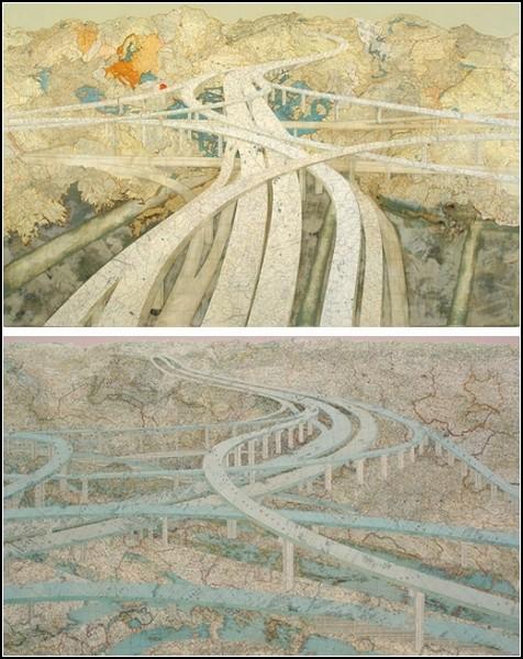 Картины-коллажи из географических карт