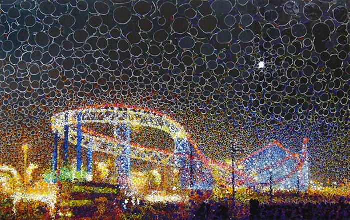 Многослойные картины Мэтью Дэвиса (Matthew Davis) из разноцветных кружочков