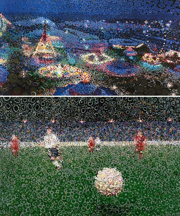 Современное искусство в духе пуантилистов. Картины из кружочков от Мэтью Дэвиса (Matthew Davis)