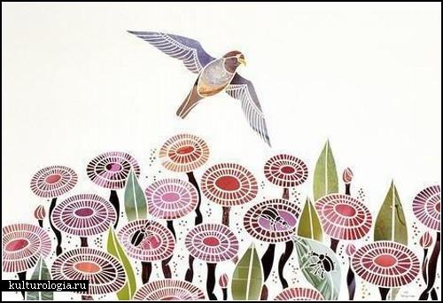 Птицы и цветы в коллажах Маюко Фуджино (Mayuko Fujino)