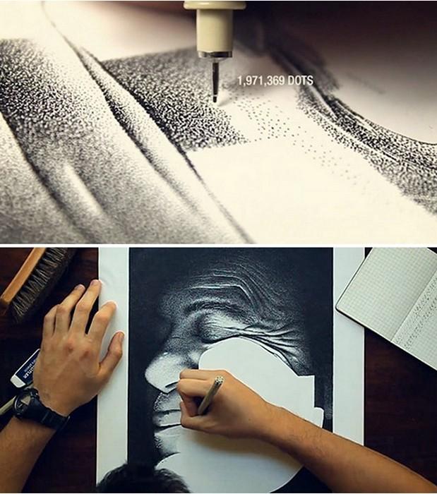 Процесс создания картины из чернильных точек