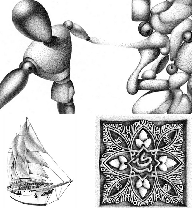 Пуантилизм Мигеля Эндары (Miguel Endara). Картины из чернильных точек