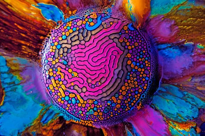 Цветные лабиринты из акварельной краски и магнитной жидкости. Арт-проект Millefiori от Фабиана Оэфнера