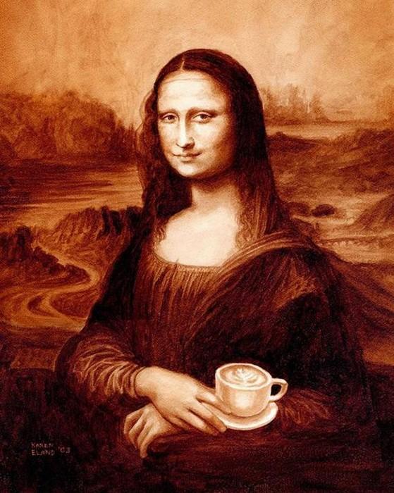 Мона Лиза, нарисованная не красками, а кофе. Картина Карен Эланд