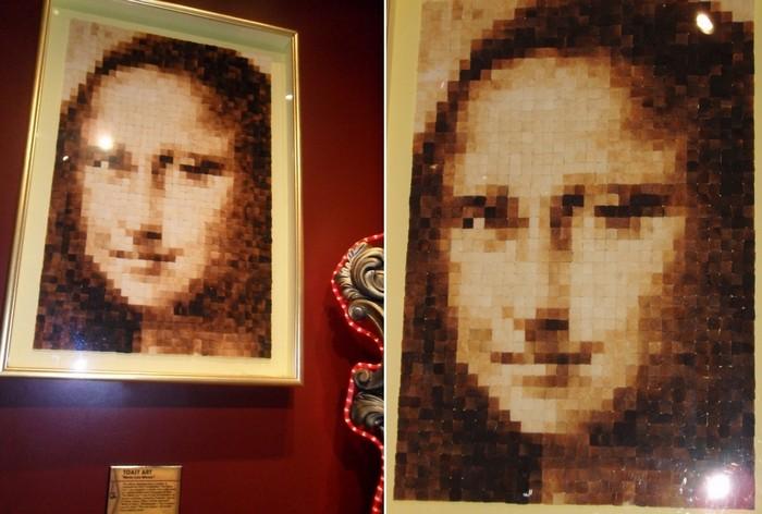 Мона Лиза из тостов разной прожаренности