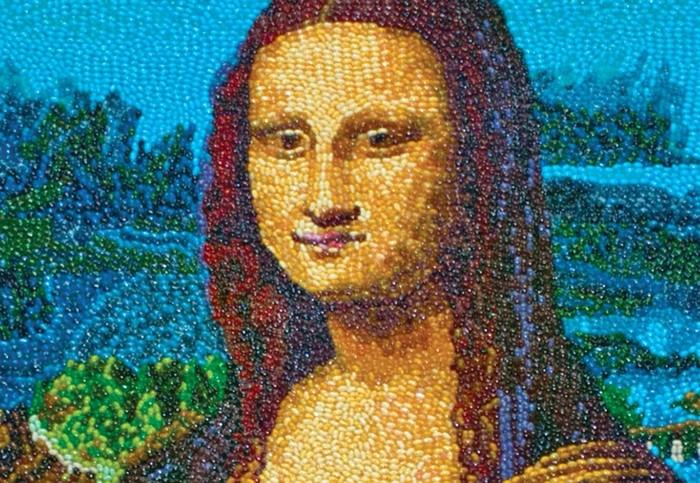 Мона Лиза из жевательного мармелада, репродукция Кристен Камингс (Kristen Cumings)