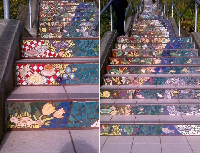 Tiled Steps, мозаичная лестница от Colette Crutcher и Aileen Barr