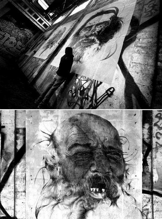 Musee Urbain, портреты бомжей на улицах Франции