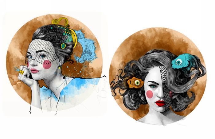 Водолей и Рыбы. Серия Zodiac Illustration от Mustafa Soydan