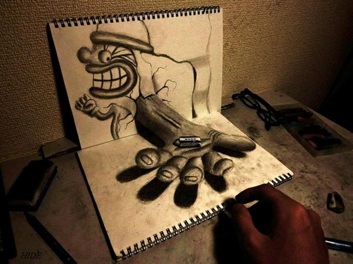 Трехмерные рисунки простым карандашом от Nagai Hideyuki