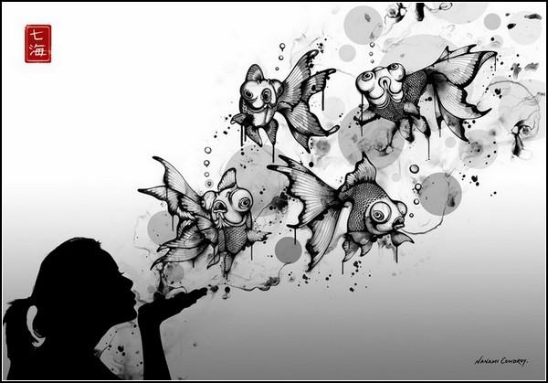 Открытки с графикой черно-белой 37