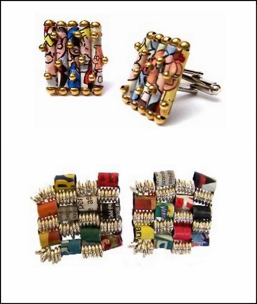 Эксклюзивные запонки из комиксов. Newspaper Jewelry от Holly Anne Mitchell