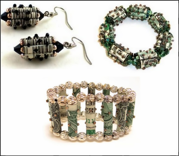 Украшения из долларовых банкнот. Коллекция Newspaper Jewelry