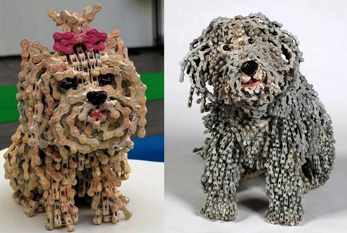 Собачки из цепи. Серия скульптур Dog collection от Нирит Левав
