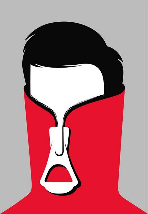 Стеснительный парниша. Иллюстрация из сборника Negative Space Art художника Нома Бар (Noma Bar)