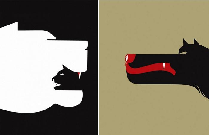 Negative Space Art, сборник минималистских иллюстраций художника Нома Бар (Noma Bar)
