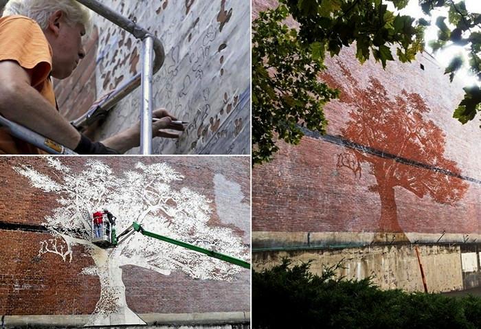 The Charter Oak. Секретная фреска Адама Никлевича, которую видно только под дождем