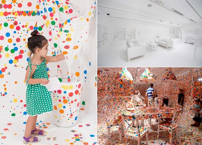 Маленькие художники за работой, процесс перевоплощения помещения