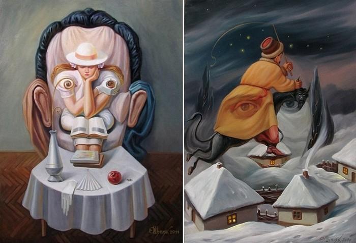 Художественный обман зрения, картины с двойным смыслом современного украинского художника