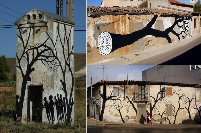 Подражание природе. Необычный стрит-арт художников Pablo S. Herrero и David de la Mano