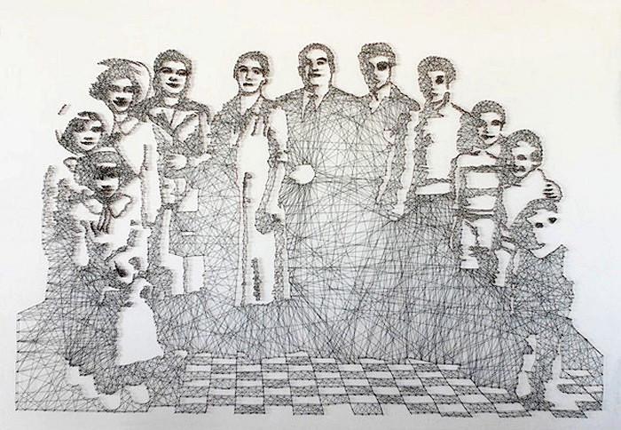 Портреты-инсталляции, сплетенные из ниток. Работы Pamela Campagna и Thomas Scheiderbauer