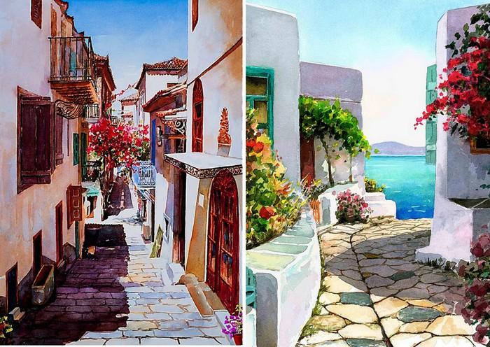 Нежные акварели о родной Греции