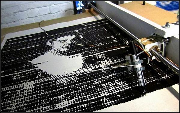 Механический пуантилизм. Картины от Time Print Machine