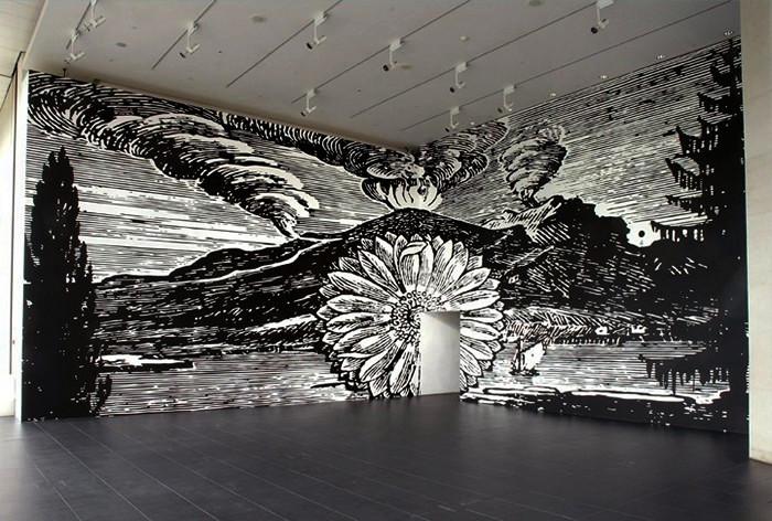 Цветочные стены Floral murals, монохромная живопись Пола Моррисона (Paul Morrison)