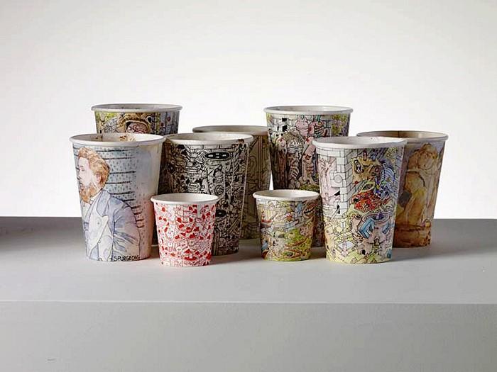 Проект Coffee Cups Пола Весткомба, расписные картонные стаканчики