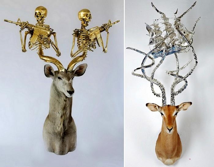 Вооруженные рога скульптур Питера Гронквиста (Peter Gronquist)