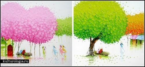 Разноцветные пейзажи Phan Thu Trang. Картины мастихином