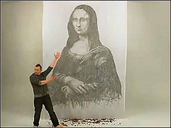 Мона Лиза, нарисованная гамбургерами