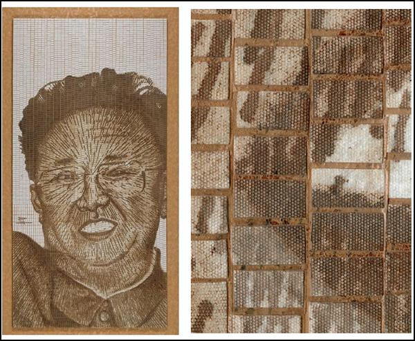 Портрет Kim Jong Il из крови художника