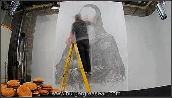 Burger Grease Art. Холст, жир, Мона Лиза