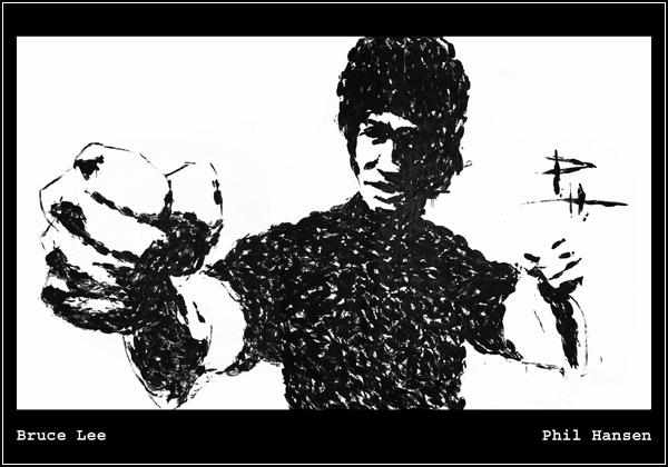 Брюс Ли, нарисованный кунг-фу стилем