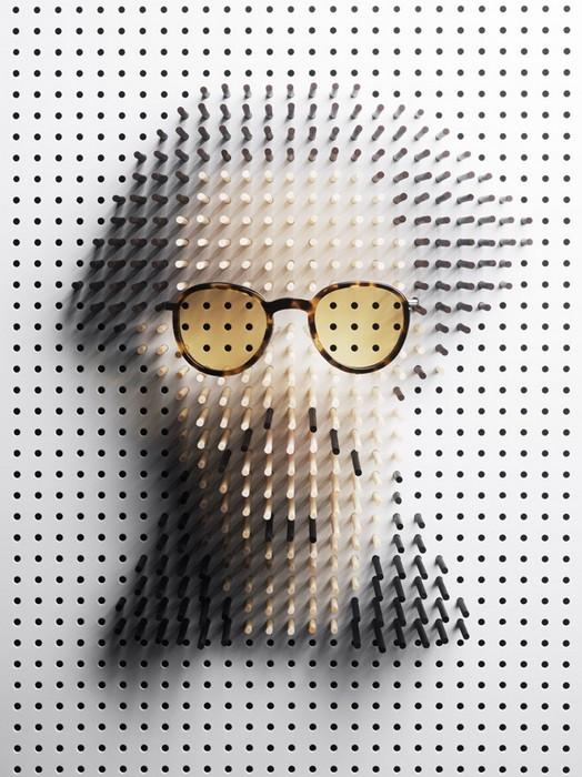 Знаменитости в очках от солнца. Портреты из деревянных колышков от Philip Karlberg