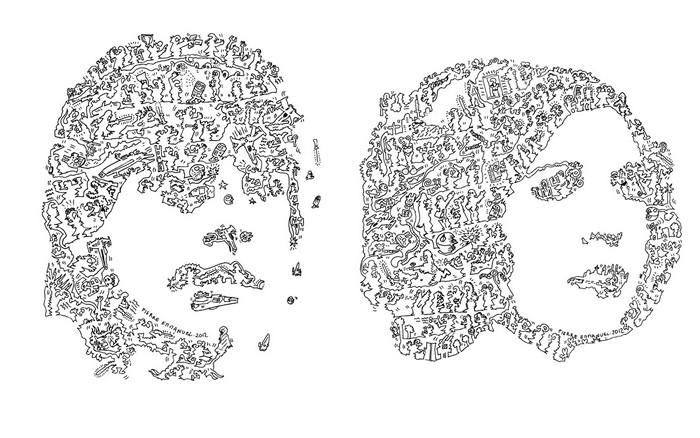 Люк Скайуокер и принцесса Лея. Портреты одной сплошной линией