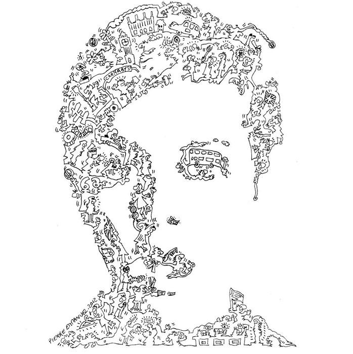 Портрет Твигги, нарисованный одной сплошной линией