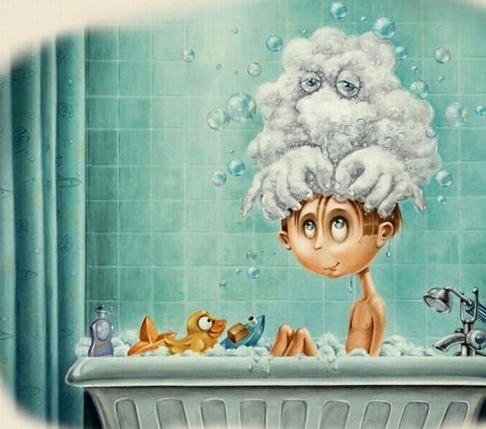 """""""Мытье головы"""". Детское воображение в иллюстрациях Пьеретты Диаз (Pierrette Diaz)"""