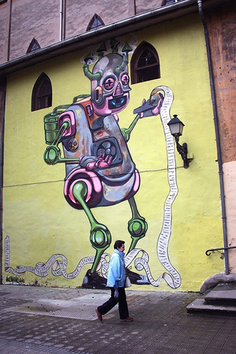 Креативное граффити художника Pixel Pancho