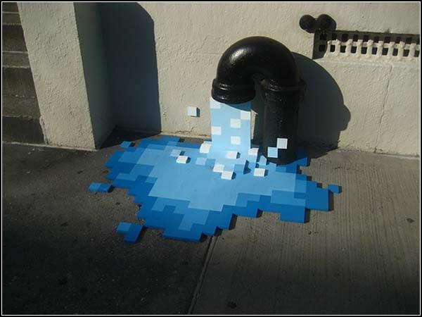 Водяная инсталляция Pixel Pour 2.0 на Нью-Йоркских улицах