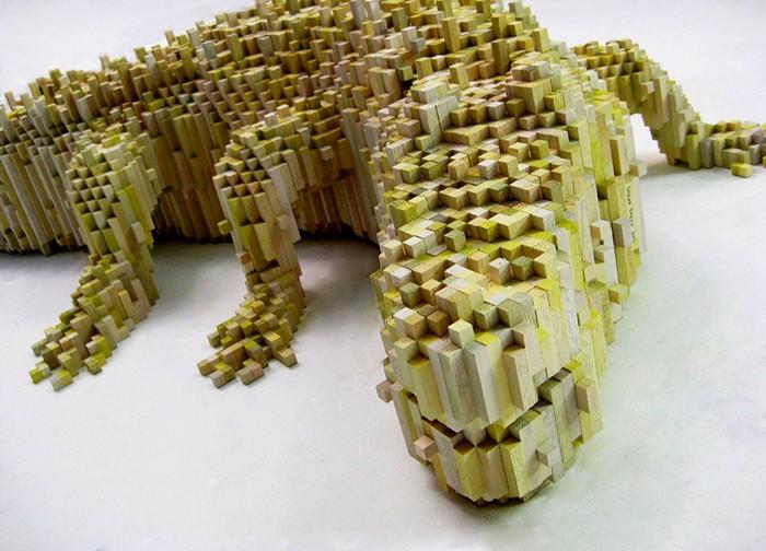 Скульптуры животных из кубиков-пикселей от Шона Смита (Shawn Smith)