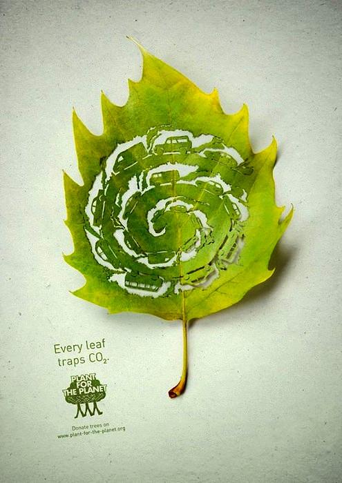 Фабрики и заводы на листьях в арт-проекте Legas Delaney для компании Plant for the Planet