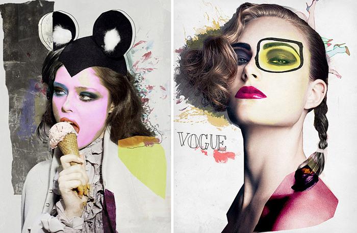 Модные коллажи из модных журналов. Портреты красавиц от Карлоса Герреро